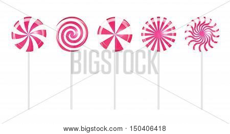 Realistic Sweet Lollipop Candy Set on White Background. Vector Illustration EPS10