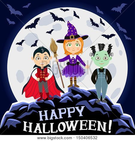 Happy Halloween. Children in halloween costumes. Vampire Dracula witch zombie