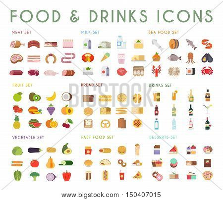 Food and drink flat vector icons set. Meat, milk, bread, seafood, fruits, vegetables, alcohol fast food dessert