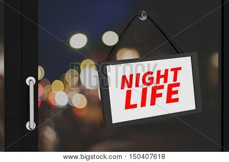 3D Rendering : illustration of night life sign board hanging at the glass door against blurred bokeh light of the night background,clipping path included for adding your text