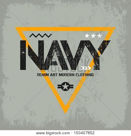 Modern american navy grunge effect tee print vector design isolated on light background.  Premium quality superior military shabby logo concept. Threadbare warlike label for light t-shirt.
