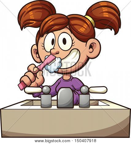 Cartoon girl brushing her teeth. Vector clip art illustration with simple gradients. All in a single layer.