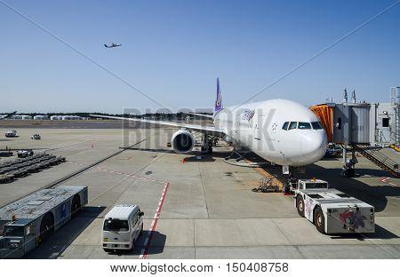Boeing 777-3D7 Of Thai Airways At Narita Airport. Japan