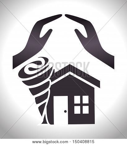 house twister insurance and property home safety. vector illustration