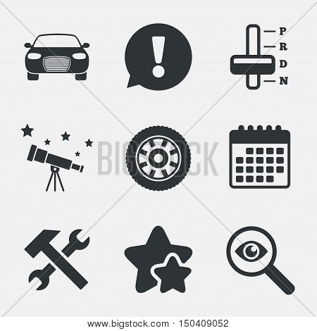 Transport icons. Car tachometer and automatic transmission symbols. Repair service tool with wheel sign. Attention, investigate and stars icons. Telescope and calendar signs. Vector