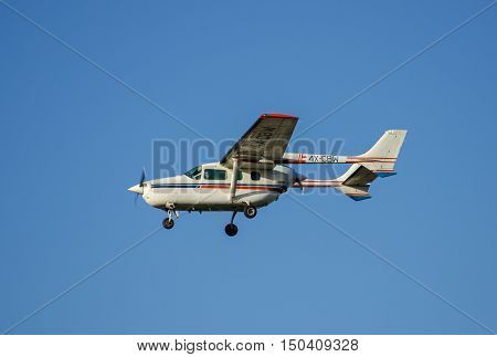 The Cessna 337G Skymaster Airplane Arriving To Ben-gurion Airport. Israel