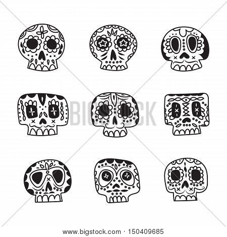 Vector cute ethnic Mexican sugar skulls icons. Day of the Dead line style symbols collection.