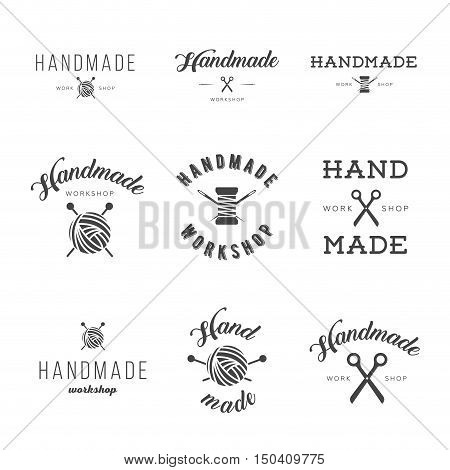 Handmade workshop logo vintage vector set. Hipster and retro style. Perfect for your business design. Scissors thread needles