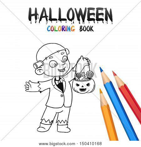Cheerful kid trick or treating in Halloween costume Frankenstein. Halloween Coloring Book. Illustration for children vector cartoon character isolated on white background.