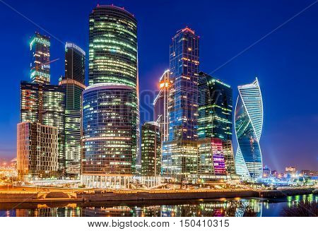 MOSCOW, RUSSIA - MARCH 19, 2016: Night view of the Moscow International Business Center, also referred to as Moscow City is a commercial district in central Moscow, Russia.