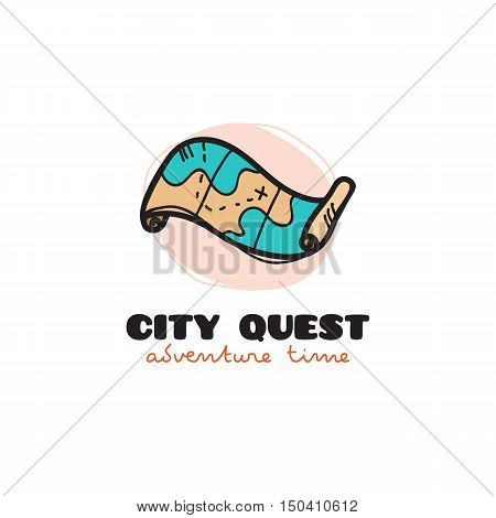 Vector doodle style treasure map logo. City quest sketch symbol