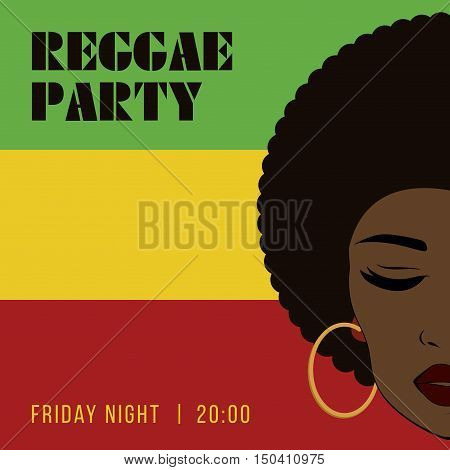 Reggae party event flyer. Creative vintage poster. Vector retro style template. Front view portrait of a black woman face.