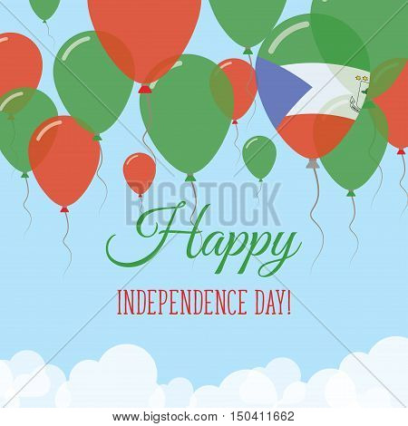 Equatorial Guinea Independence Day Flat Greeting Card. Flying Rubber Balloons In Colors Of The Equat