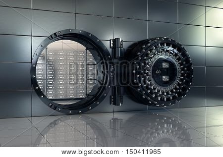 3d rendering of open bank vault door. Safety and secure business concept