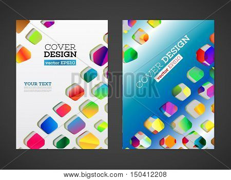 Abstract low polygonal colorful design background. Hole in paper and shadows flat effect. Flyer template. Brochure design template. A4 book journal background design. Layout vector template. EPS10
