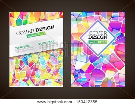 Abstract low polygonal colorful design background. Abstract colored mosaic for background. Flyer template. Brochure design template. A4 book journal background design. Layout vector template. EPS10