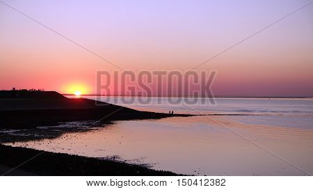 picture of sunset in harbour of Wemeldinge,Zeeland,the Netherlands.
