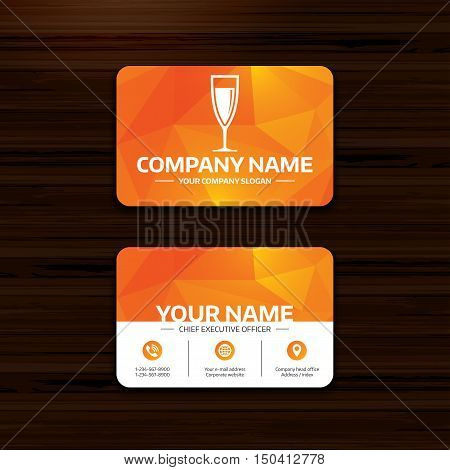Business or visiting card template. Glass of champagne sign icon. Sparkling wine. Celebration or banquet alcohol drink symbol. Phone, globe and pointer icons. Vector