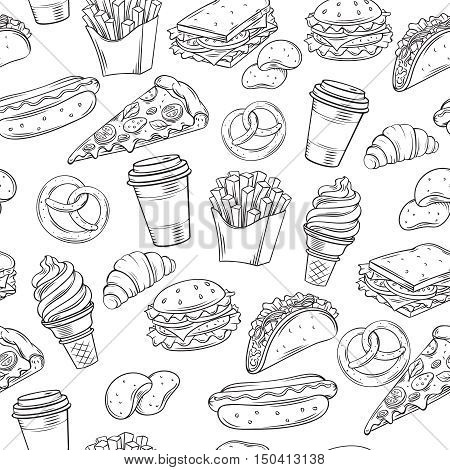 Fast Food decorative seamless pattern. Hand drawn vector Fast Food background in line art style.