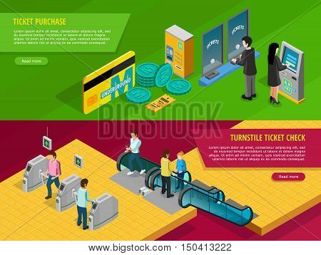 Underground horizontal banners set with ticket purchase symbols isolated isometric vector illustration