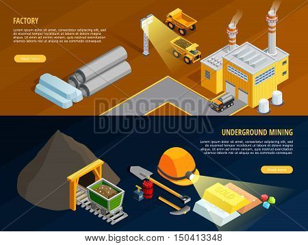 Mining horizontal banners set with underground mining symbols isometric isolated vector illustration