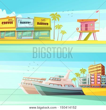 Miami beach horizontal banners in cartoon style with sandy shore seagulls yachts hotels  flat vector illustration