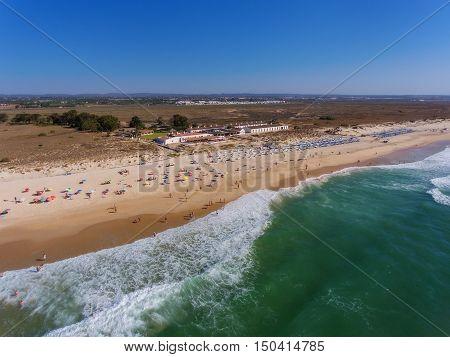 View aerial Portuguese beach cemetery anchors. Barril.
