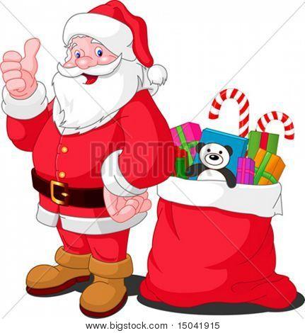 Ilustración para Navidad y año nuevo. Santa Claus. Bolsa con regalos. Vector