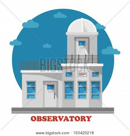 Observatory building at night with astronomy telescope in dome. Architecture of facade exterior view that can be used for observing sky and universe, planets or cosmos, galaxy. Planetarium