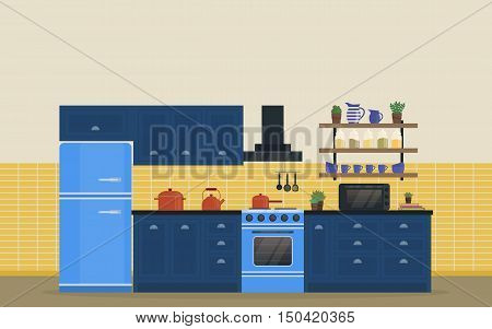Kitchen room for food cooking interior with stove or oven, gas range and refrigerator or fridge, spice rack with jars and jug, spatula and whole spoon, kettle or teapot and exhaust hood, pan. eps 10