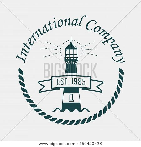 Logotype with lighthouse and rope or sling and international company text above. Navigation beacon sketch. May be used for sailor and travel, reef hazard and nautical banner theme