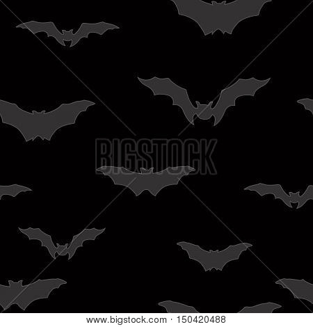 Bat Silhouette Seamless Pattern. Holiday Halloween Background. Halloween Bat Texture