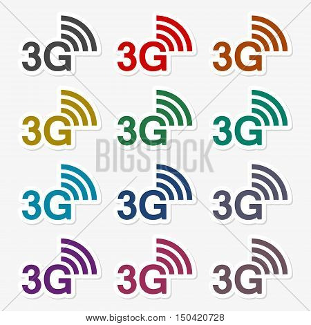 Color 3G sticker set on gray background