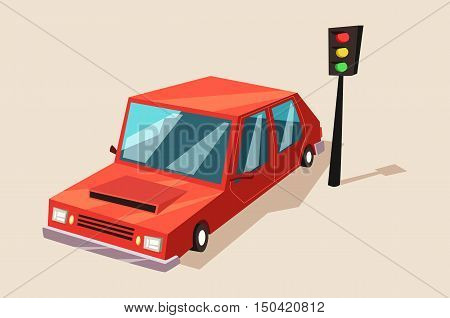 Car or auto, automobile vehicle at traffic light. Transport or machine for riding or fast driving city or town streets with shade logo or banner, badge or sign with bleaks on glass