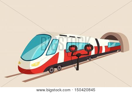 Sleek train movement from tunnel and flash light. Railroad or railway speed transport banner or express symbol perspective view on rail. Underground or suburban subway logo