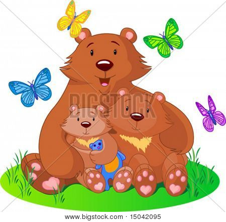 mother bear sits on a meadow with the cubs