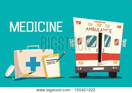 First aid kit and ambulance car, syringe and pill. Emergency medical service for patient and diagnosis sheet of paper. Good for hospital and clinic, paramedic assistance theme