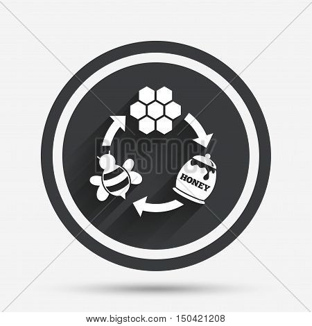 Producing honey and beeswax sign icon. Honeycomb cells symbol. Honey in pot. Sweet natural food cycle in nature. Circle flat button with shadow and border. Vector