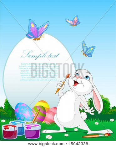 Illustration of an Easter Bunny painting Easter Eggs. Perfect for your Easter Greeting