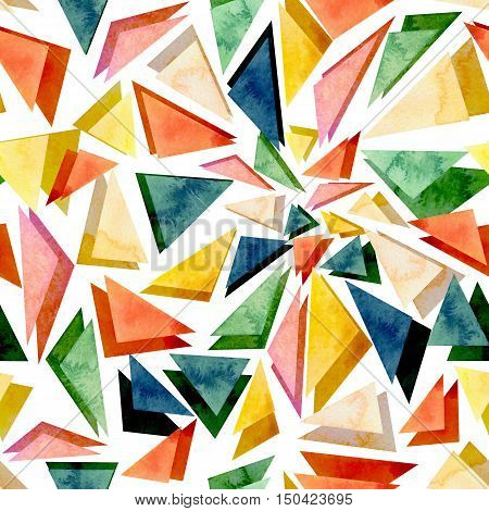 Watercolor Bright Colorful Triangles Geometric Seamless Texture