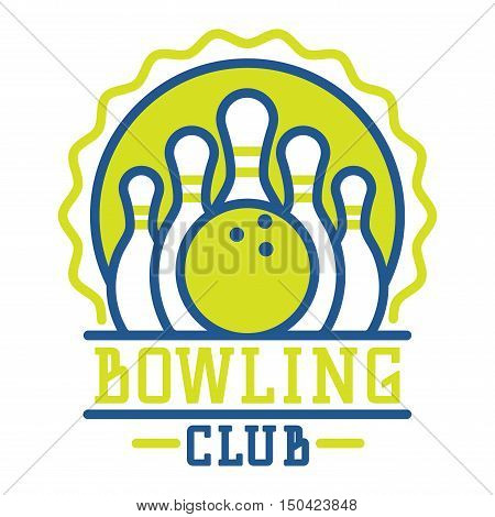 Vector bowling logo emblem and sport logo design element. Bowling logotype template and badge. Bowling badge sport item design for sport league teams