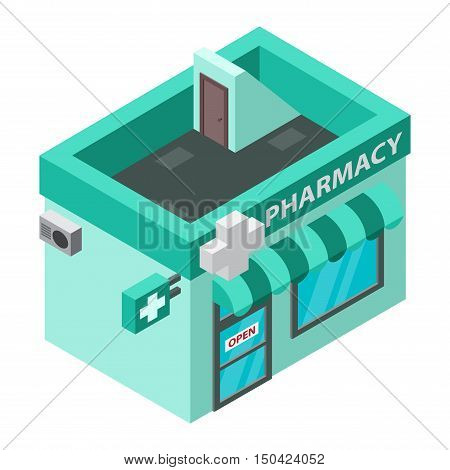 Vector pharmacy isometric building isolated. pharmacy isometric building. pharmacy isometric building design. Urban business construction design construction