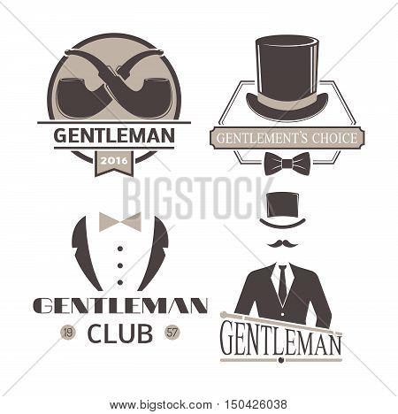 Vector illustration gentlemen hipster logo badge silhouette.
