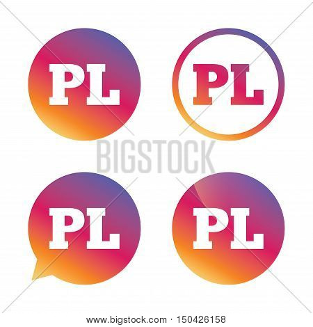 Polish language sign icon. PL translation symbol. Gradient buttons with flat icon. Speech bubble sign. Vector