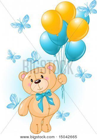 Oso de peluche de niño colgando de un globos
