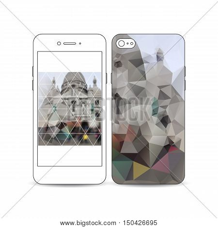 Mobile smartphone with an example of the screen and cover design isolated on white background. Blurred image, view of cathedral Sakre-Ker, Paris cityscape, modern vector texture