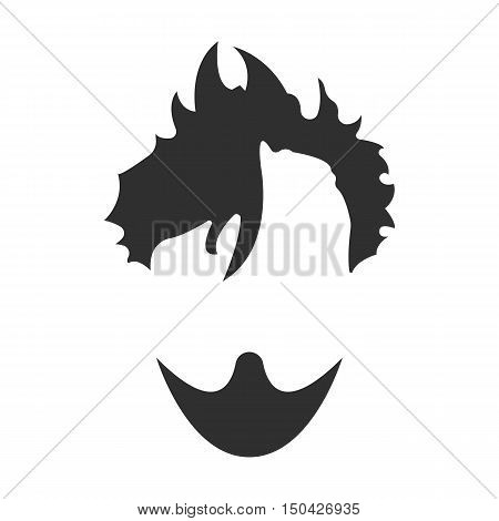 Mustache, beard and hair black simple icon. Illustration for web and mobile.