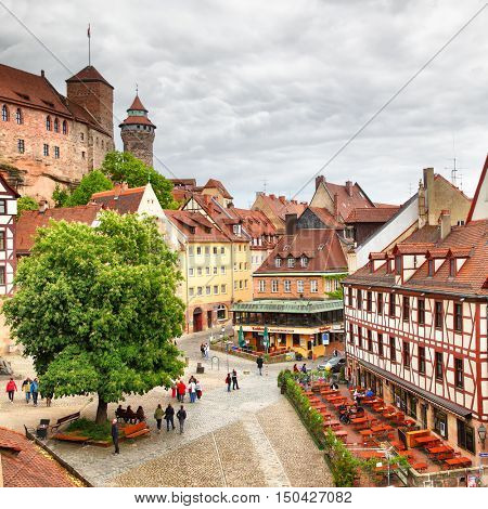 NUREMBERG, GERMANY - May 17, 2016: View square in Old Town in Nuremberg