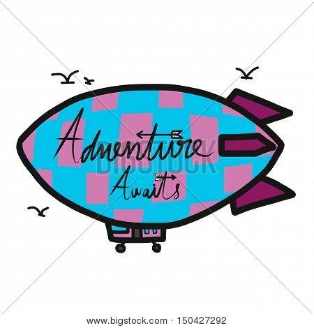 Adventure awaits on blue airship cartoon illustration
