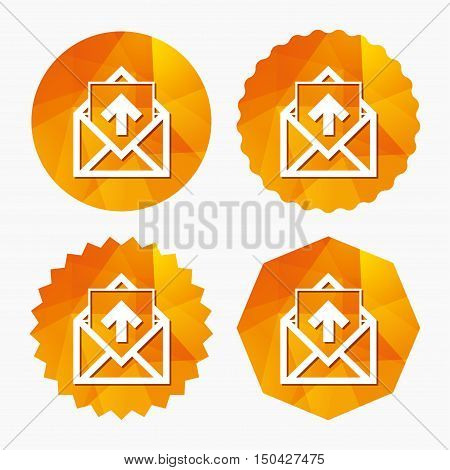 Mail icon. Envelope symbol. Outgoing message sign. Mail navigation button. Triangular low poly buttons with flat icon. Vector
